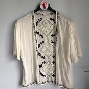 Blu Pepper White Embroidered Cardigan Top